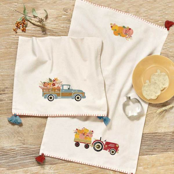 SALE!  Farm Tractor Dishtowel & Pumpkin Cutter Set