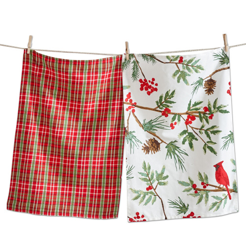 Cardinal & Plaid Dishtowel Set