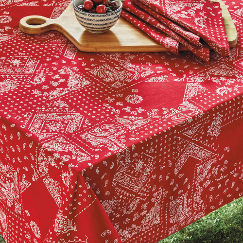 SALE!  Red Bandana Print Tablecloth