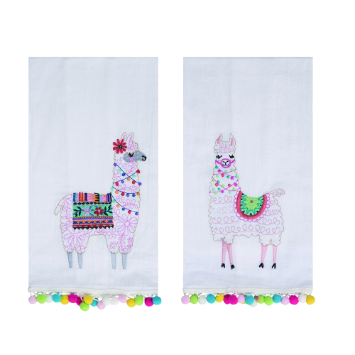 Llama Embroidered Tea Towel Set