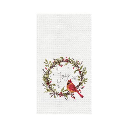 Cardinal Christmas Embroidered Dishtowel
