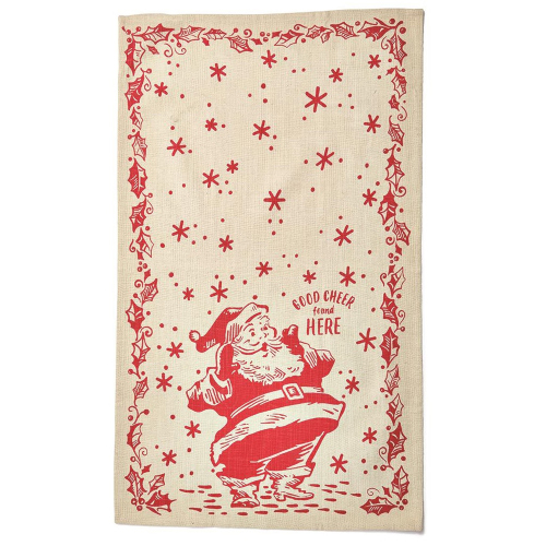 SOS!  Good Cheer Santa Dishtowel w/ Cutter