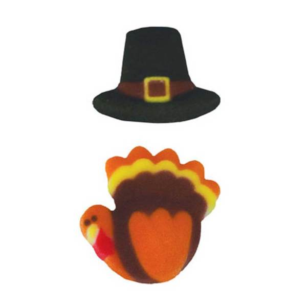 Pilgrim Hat & Turkey Sugar Decorations