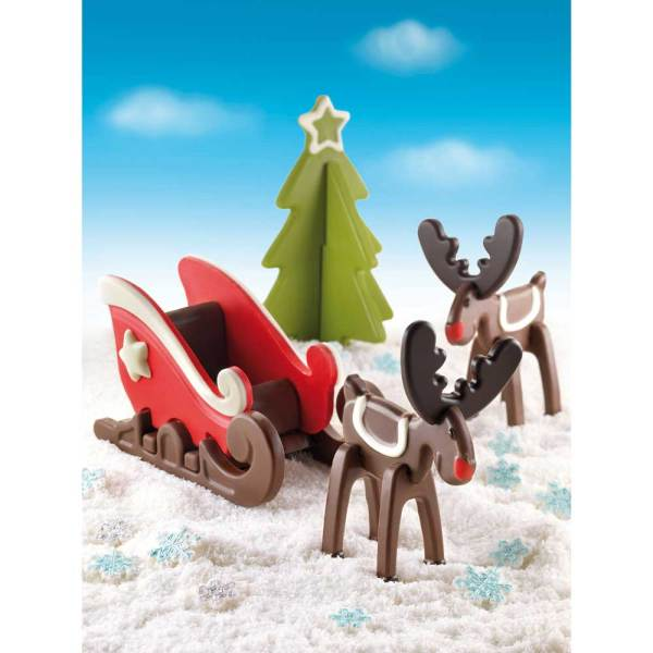SALE!  Sleigh, Reindeer & Tree Chocolate and Cookie Silicone