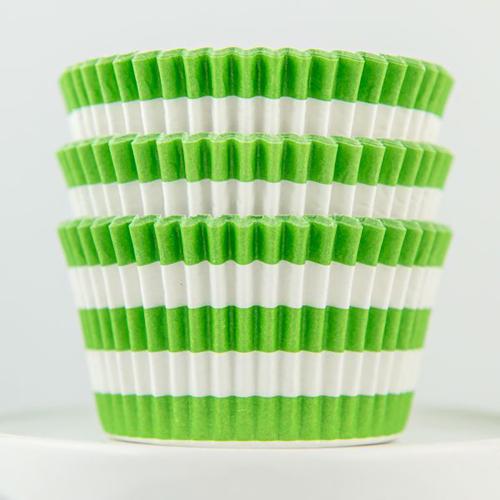 Lime Stripe Cupcake Liners