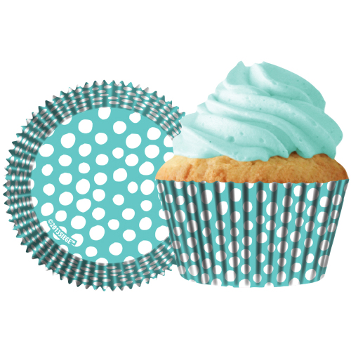 Caribbean Blue Polka Dots Cupcake Liners