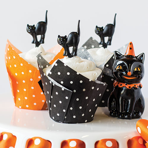 Polka Dot Tulip Baking Cups, Black & Orange