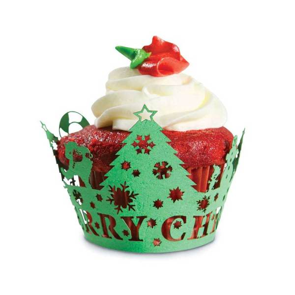 LTD QTY! Christmas Tree Cupcake Wrapper
