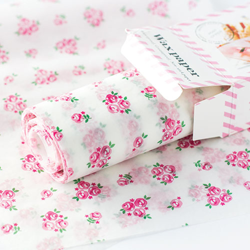 Pink Floral Wax Paper Sheets