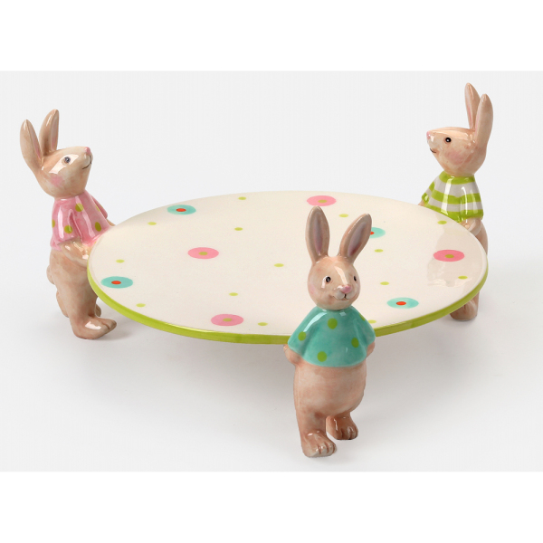 SALE!!  Bunnies Holding Serving Plate