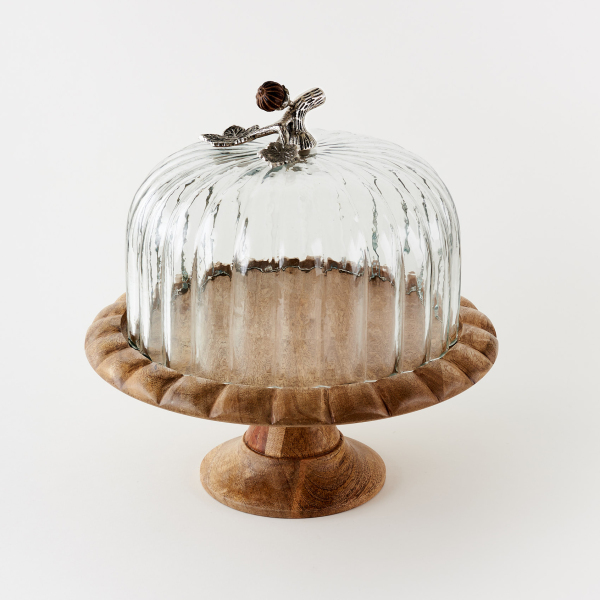 SALE!!  Pedestal Stand with Acorn Handle Glass Dome