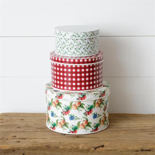 Fruit & Pattern Round Tin Set