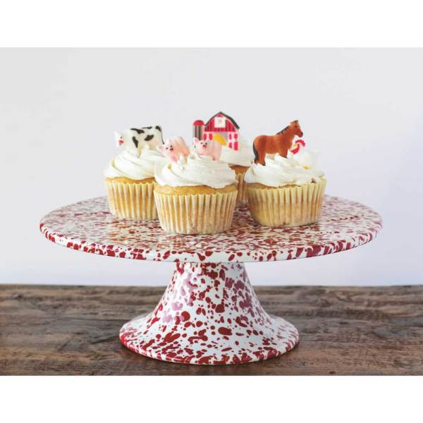 Red & White Marbled Enamelware Cake Stand