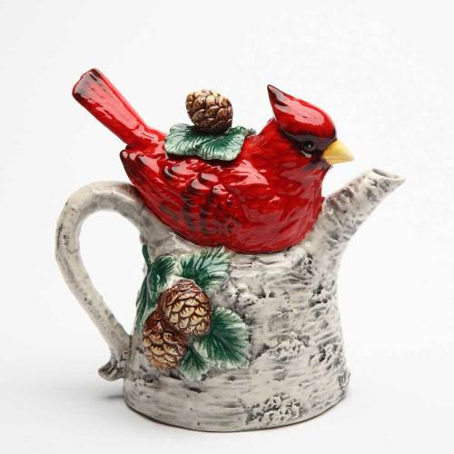 Cardinal On Birch Tree Teapot