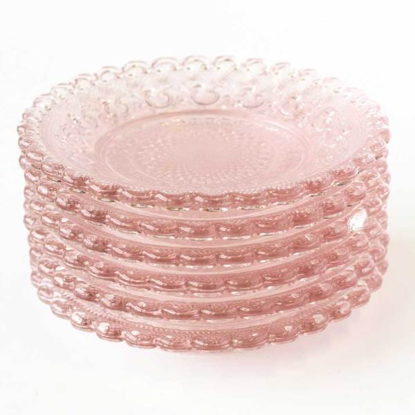 Blush Chantilly Glass Plate Set