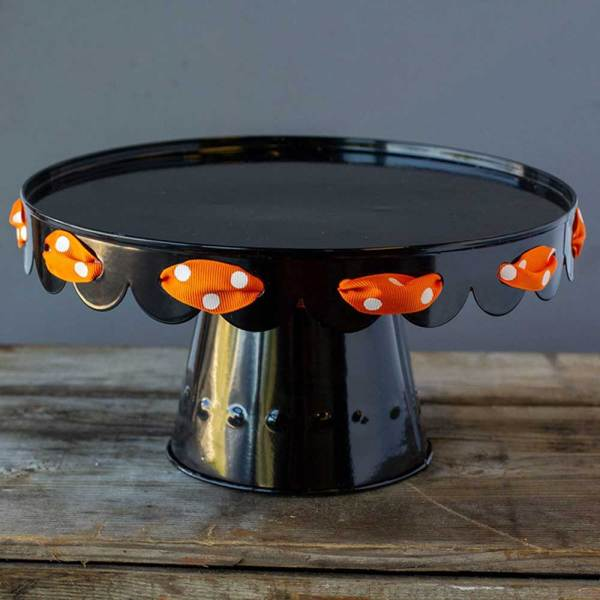 SALE!  Scalloped Black Enamel Cake Stand