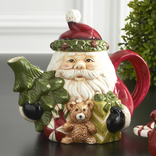 SOS!  Santa Teapot with Tree & Gifts