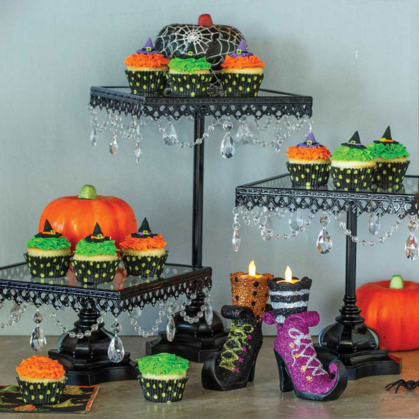 SALE!  Jeweled Black Square Cake Stands