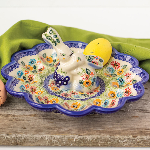 SALE!  2020 Kissing Bunnies Egg Plate- Polish Pottery