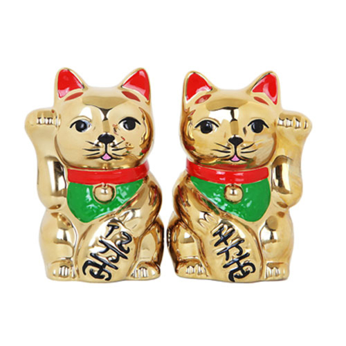 Golden Lucky Cats Salt & Pepper