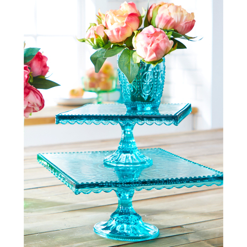 "Blue Square 9.75"" Cake Stand"