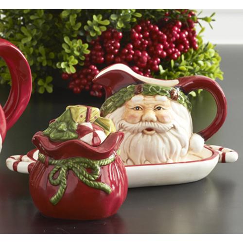 Santa & Gift Bag Sugar and Creamer Set