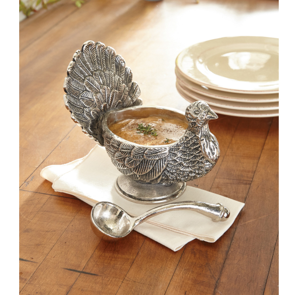 LTD QTY! Elegant Turkey Gravy Boat with Ladle