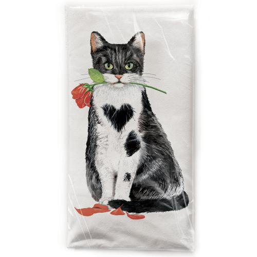 SALE!  Cat With Rose Flour Sack Towel