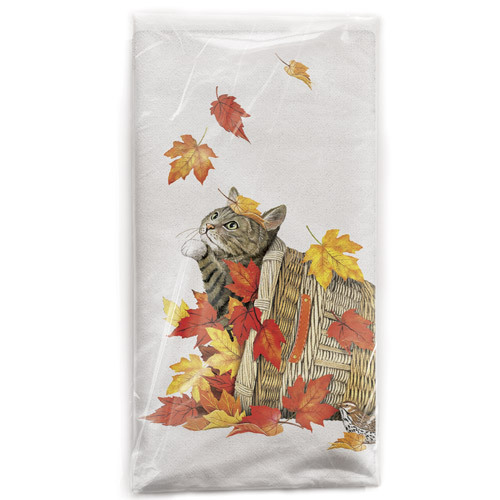 Cat Fall Basket Flour Sack Towel