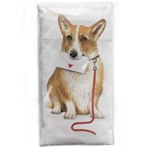 Corgi With Love Note Flour Sack Towel