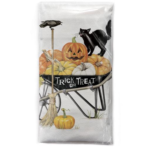 SALE!  Halloween Wheelbarrow Flour Sack Towel