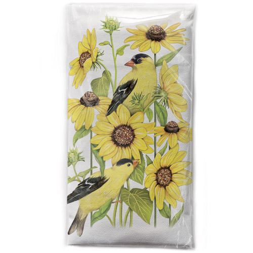 Sunflower Finch Flour Sack Towel