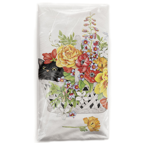 Flower Basket Cat Flour Sack Towel