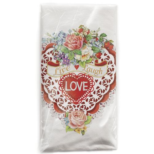 Valentine Card Flour Sack Towel