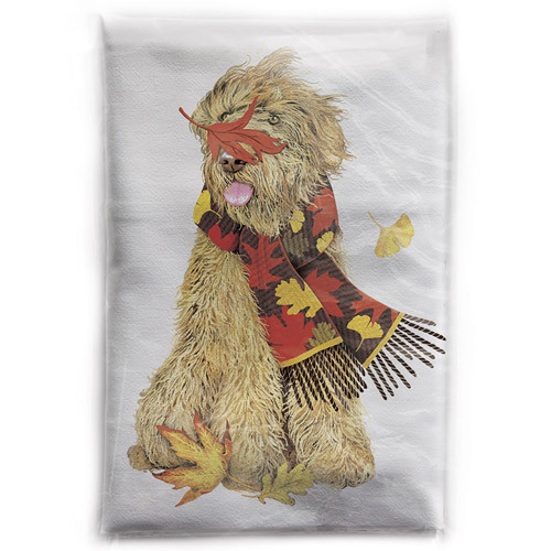 Doodle Leaves Scarf Flour Sack Towel