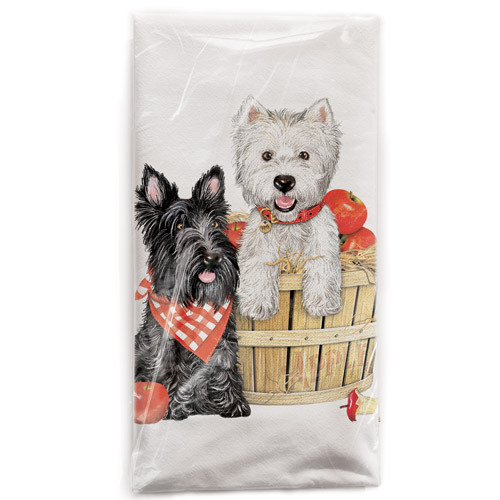 Terrier Apple Basket Flour Sack Towel
