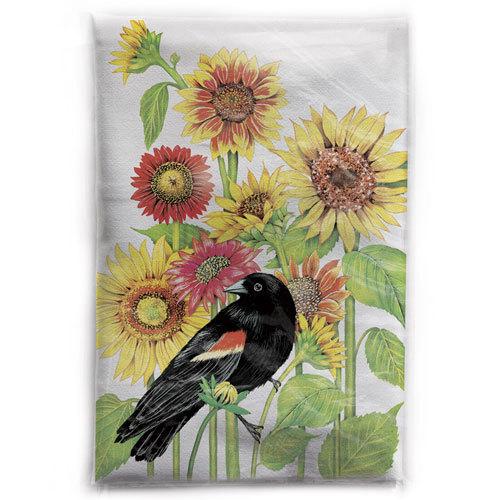 LTD QTY!  Blackbird with Sunflowers Flour Sack Towel
