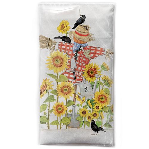 LTD QTY!  Sunflower Scarecrow Flour Sack Towel