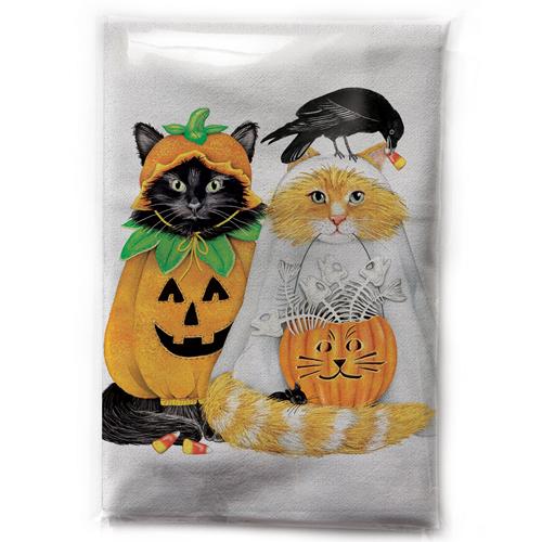 Cats In Halloween Costumes Flour Sack Towel