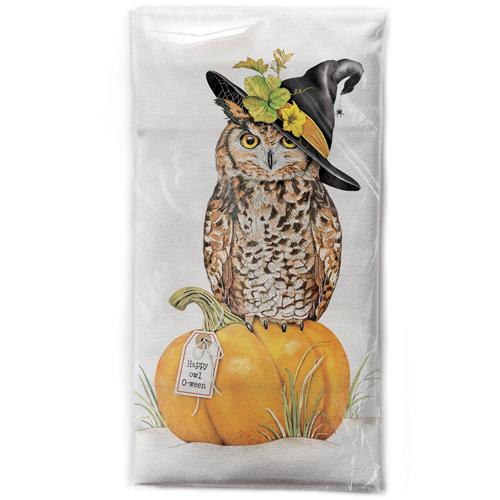 LTD QTY!  Owl On Pumpkin Flour Sack Towel