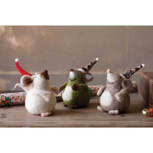 SALE!  Three Plump Felt Mice With Hats
