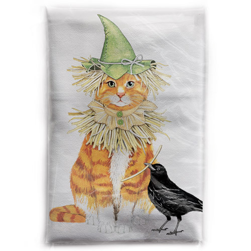 Scarecrow Cat Flour Sack Towel