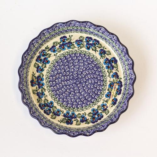 Pie Plate Blue Floral - Polish Pottery