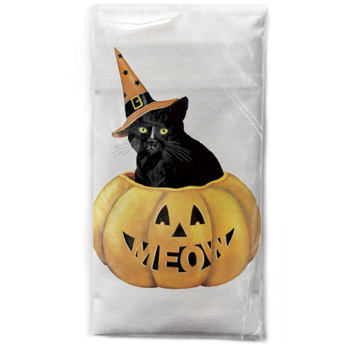 LTD QTY!  Black Cat in Pumpkin Flour Sack Towel