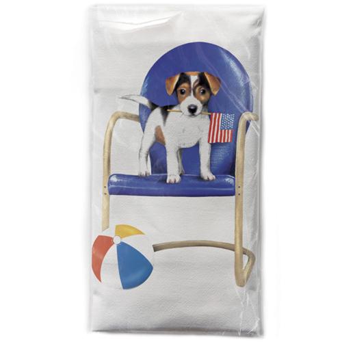 SALE!  Puppy on Chair Flour Sack Towel