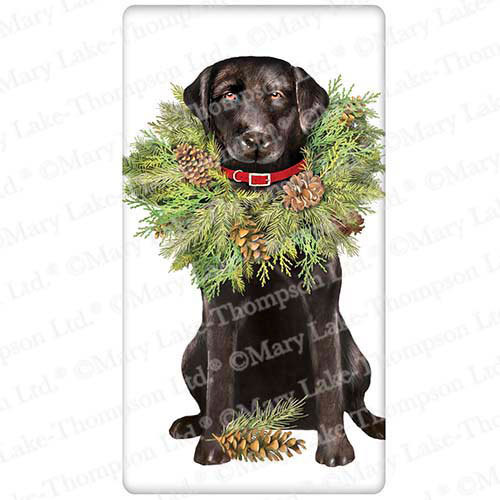 Black Lab with Wreath Flour Sack Towel