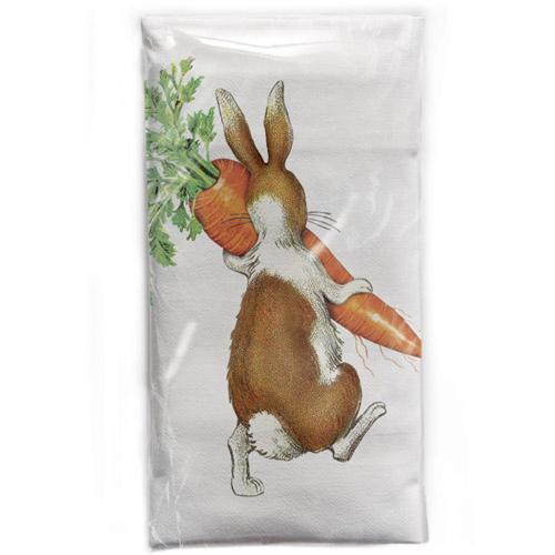 SALE!  Bunny With Carrot Flour Sack Towel