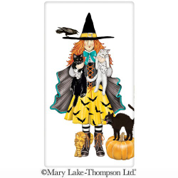 SALE!!  Witch With Cats Flour Sack Towel