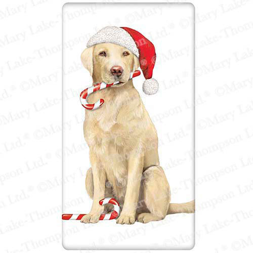Holiday Yellow Lab Flour Sack Towel