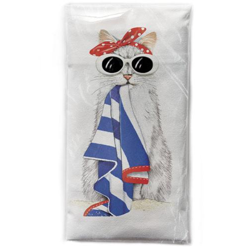 SALE!  Beach Cat Flour Sack Towel